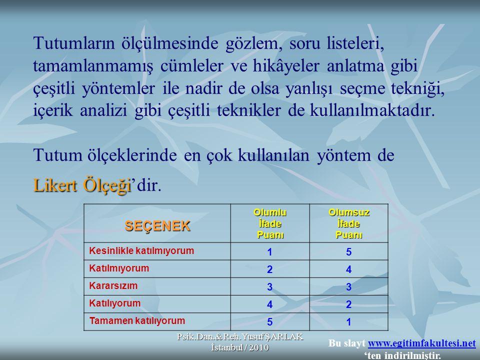 Psik.Dan.& Reh.Yusuf ŞARLAK İstanbul / 2010 Likert Ölçeği Tutumların ölçülmesinde gözlem, soru listeleri, tamamlanmamış cümleler ve hikâyeler anlatma