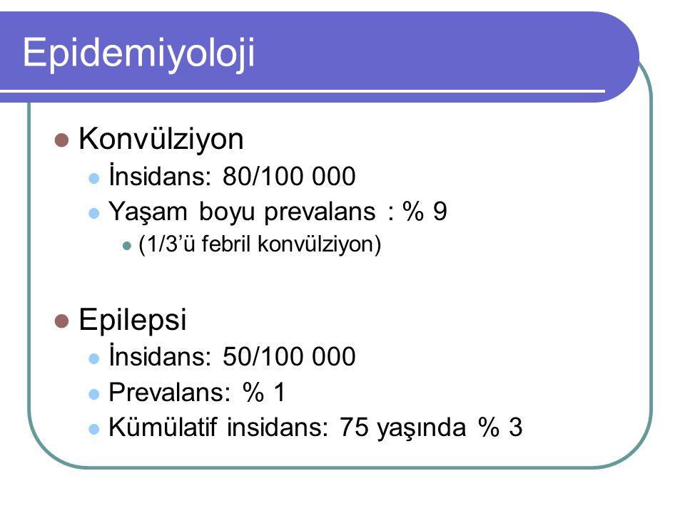 Epidemiyoloji Konvülziyon İnsidans: 80/100 000 Yaşam boyu prevalans : % 9 (1/3'ü febril konvülziyon) Epilepsi İnsidans: 50/100 000 Prevalans: % 1 Kümü