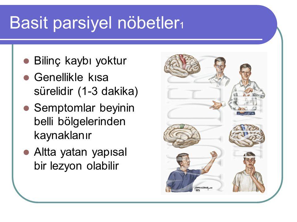 Basit parsiyel nöbetler 1 Bilinç kaybı yoktur Genellikle kısa sürelidir (1-3 dakika) Semptomlar beyinin belli bölgelerinden kaynaklanır Altta yatan ya