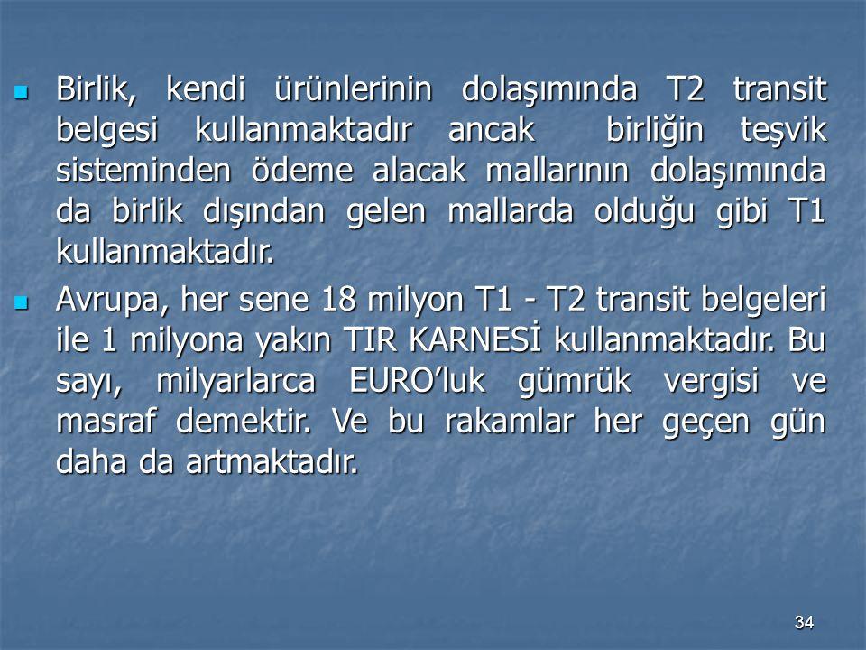 34 Birlik, kendi ürünlerinin dolaşımında T2 transit belgesi kullanmaktadır ancak birliğin teşvik sisteminden ödeme alacak mallarının dolaşımında da bi