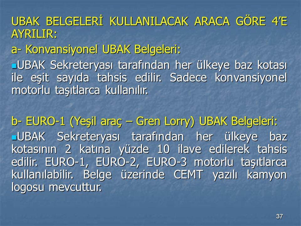 37 UBAK BELGELERİ KULLANILACAK ARACA GÖRE 4'E AYRILIR: a- Konvansiyonel UBAK Belgeleri: UBAK Sekreteryası tarafından her ülkeye baz kotası ile eşit sa