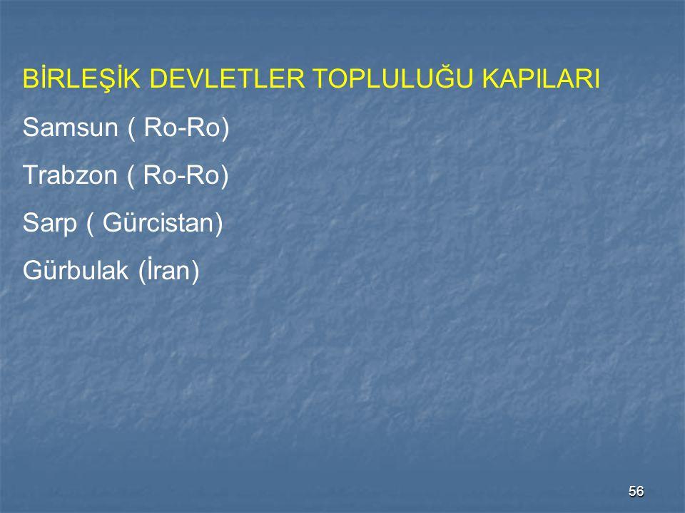 56 BİRLEŞİK DEVLETLER TOPLULUĞU KAPILARI Samsun ( Ro-Ro) Trabzon ( Ro-Ro) Sarp ( Gürcistan) Gürbulak (İran)