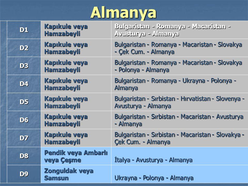 61 Almanya D1 Kapıkule veya Hamzabeyli Bulgaristan - Romanya - Macaristan - Avusturya - Almanya D2 Kapıkule veya Hamzabeyli Bulgaristan - Romanya - Ma