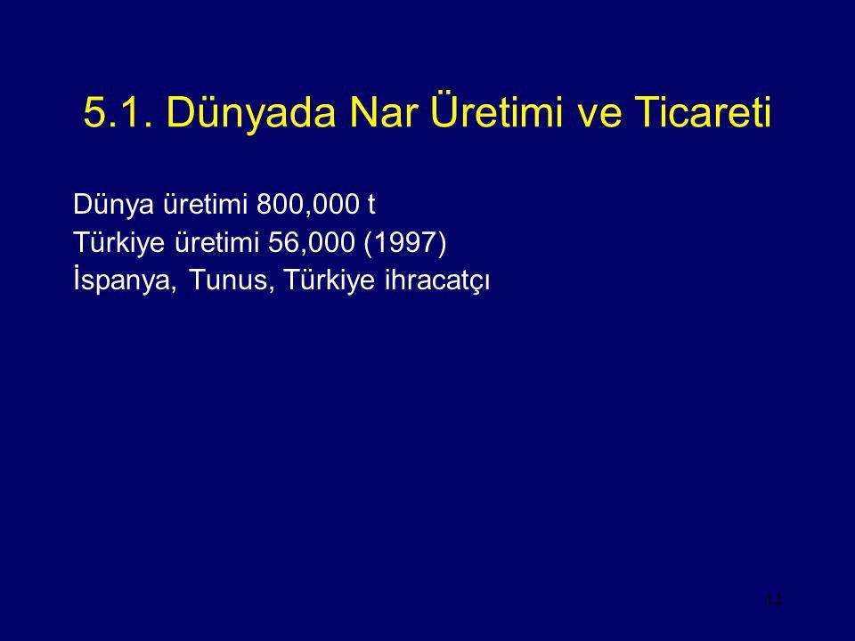 12 5.1. Dünyada Nar Üretimi ve Ticareti Dünya üretimi 800,000 t Türkiye üretimi 56,000 (1997) İspanya, Tunus, Türkiye ihracatçı
