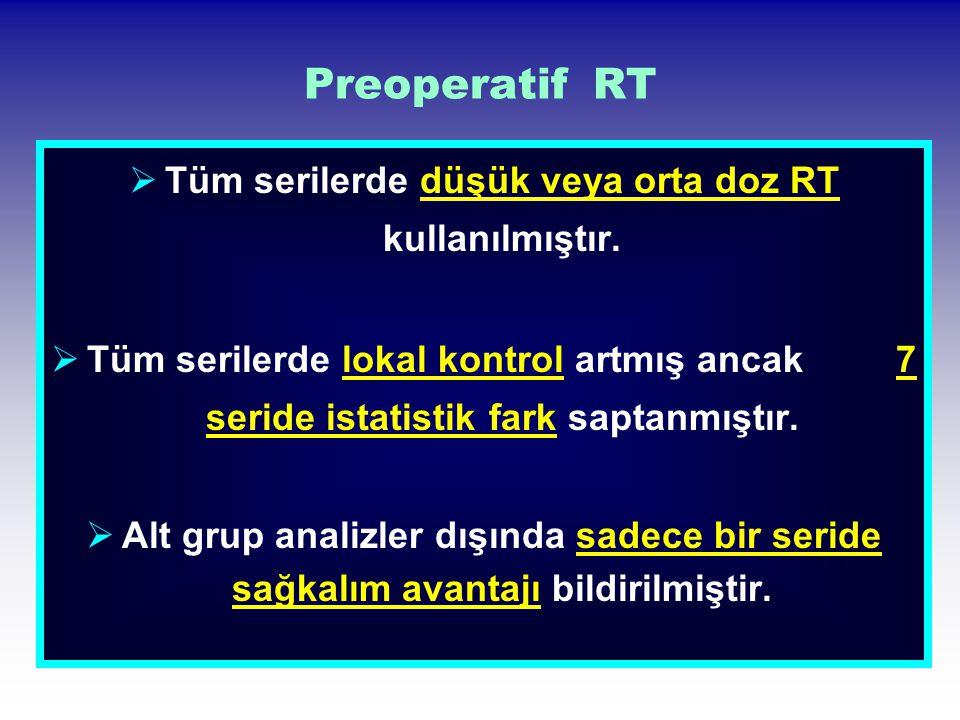 Preoperatif RT  Tüm serilerde düşük veya orta doz RT kullanılmıştır.  Tüm serilerde lokal kontrol artmış ancak 7 seride istatistik fark saptanmıştır