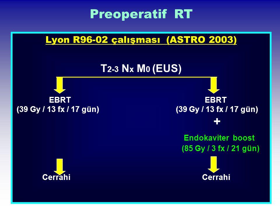 Preoperatif RT Lyon R96-02 çalışması (ASTRO 2003) T 2-3 N x M 0 (EUS) EBRT EBRT (39 Gy / 13 fx / 17 gün) (39 Gy / 13 fx / 17 gün) + Endokaviter boost