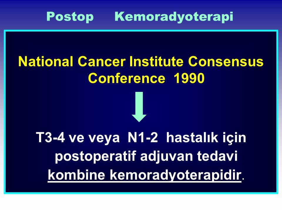 Postop Kemoradyoterapi National Cancer Institute Consensus Conference 1990 T3-4 ve veya N1-2 hastalık için postoperatif adjuvan tedavi kombine kemorad