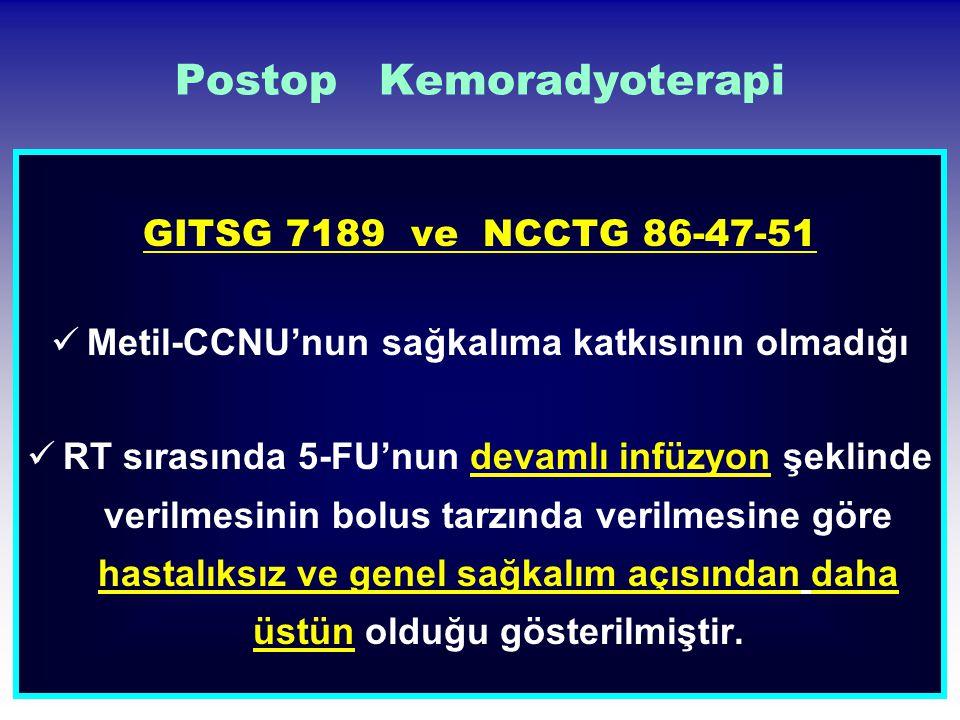 Postop Kemoradyoterapi GITSG 7189 ve NCCTG 86-47-51 Metil-CCNU'nun sağkalıma katkısının olmadığı RT sırasında 5-FU'nun devamlı infüzyon şeklinde veril