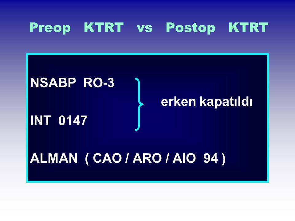Preop KTRT vs Postop KTRT NSABP RO-3 erken kapatıldı INT 0147 ALMAN ( CAO / ARO / AIO 94 )