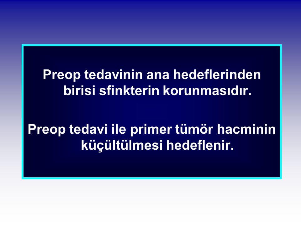 Preop tedavinin ana hedeflerinden birisi sfinkterin korunmasıdır. Preop tedavi ile primer tümör hacminin küçültülmesi hedeflenir.