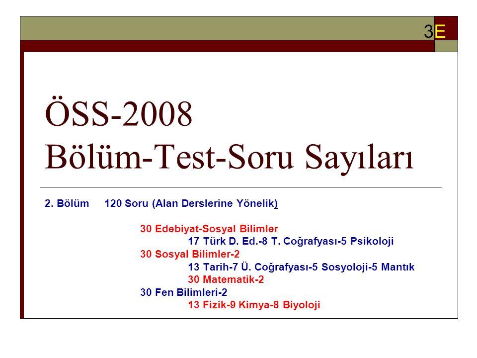 ÖSS-2008 Bölüm-Test-Soru Sayıları 2.