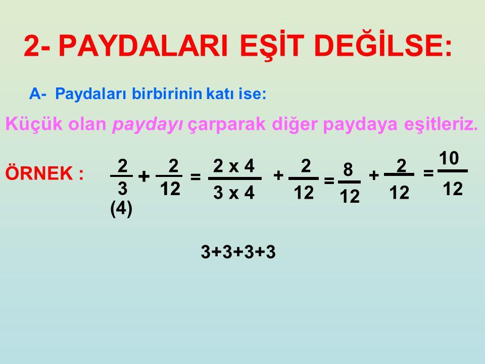 A- Paydaları birbirinin katı ise: 2- PAYDALARI EŞİT DEĞİLSE: Küçük olan paydayı çarparak diğer paydaya eşitleriz. 2323 2 + ÖRNEK : = 2 x 4 3 x 4 = 2 1