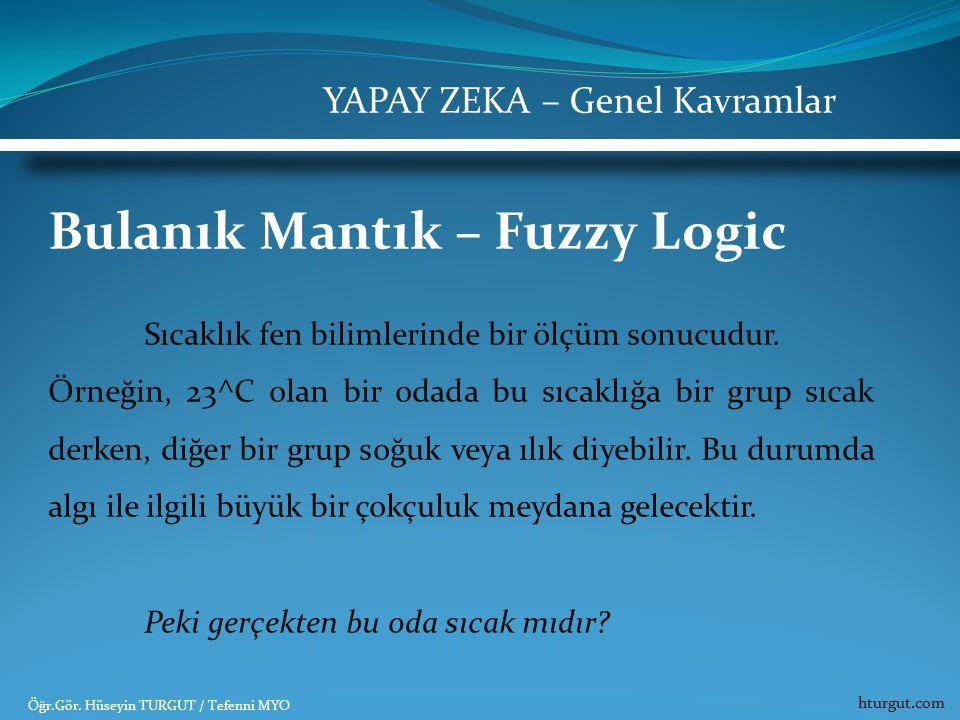Bulanık Mantık – Fuzzy Logic Sıcaklık fen bilimlerinde bir ölçüm sonucudur. Örneğin, 23^C olan bir odada bu sıcaklığa bir grup sıcak derken, diğer bir