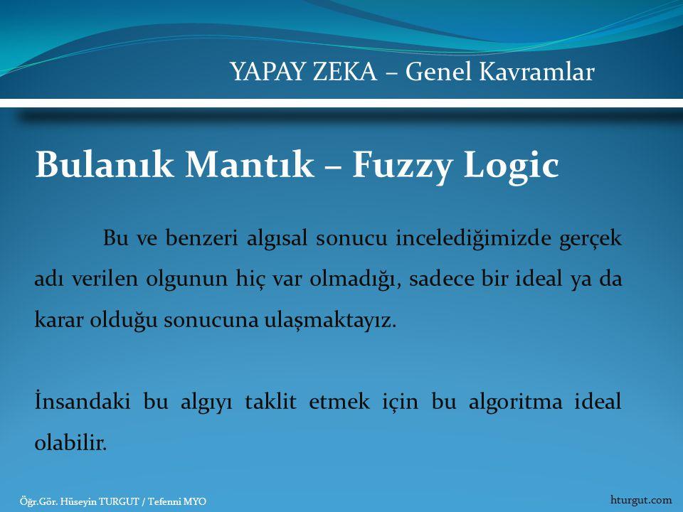 Bulanık Mantık – Fuzzy Logic Bu ve benzeri algısal sonucu incelediğimizde gerçek adı verilen olgunun hiç var olmadığı, sadece bir ideal ya da karar ol