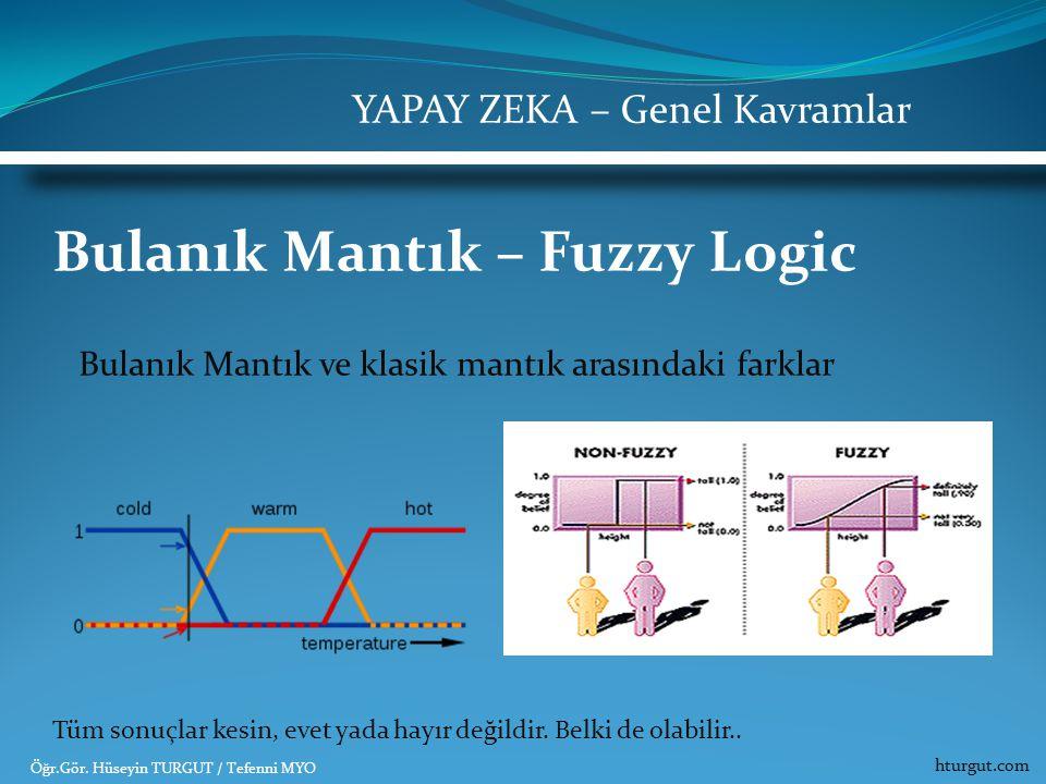 Bulanık Mantık – Fuzzy Logic Bulanık Mantık ve klasik mantık arasındaki farklar Tüm sonuçlar kesin, evet yada hayır değildir. Belki de olabilir.. YAPA