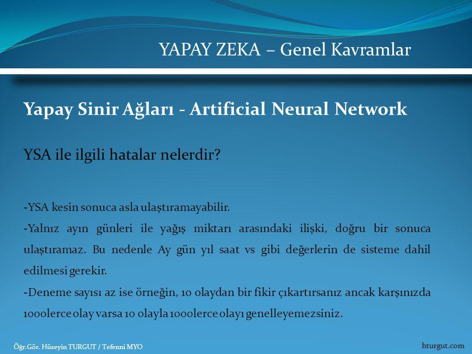 Yapay Sinir Ağları - Artificial Neural Network YSA ile ilgili hatalar nelerdir? -YSA kesin sonuca asla ulaştıramayabilir. -Yalnız ayın günleri ile yağ