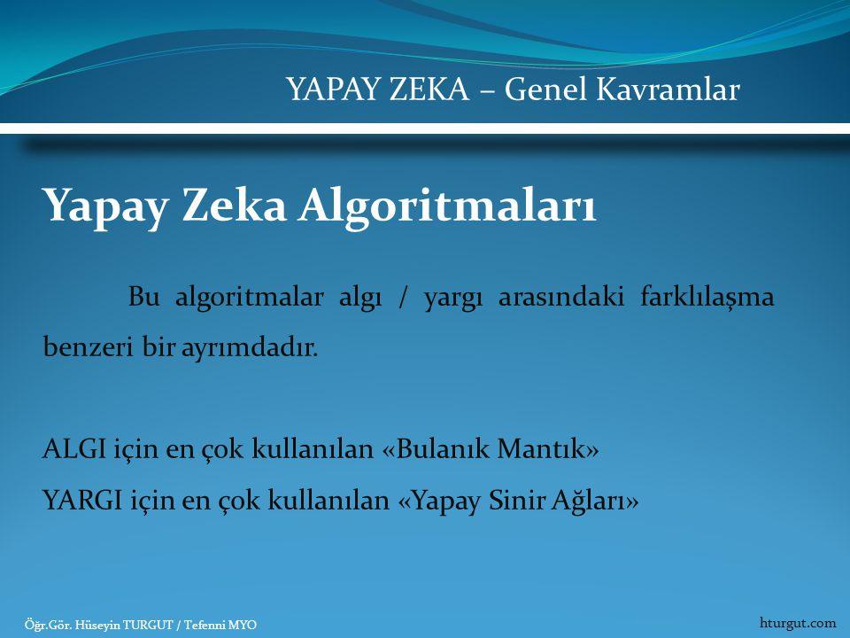 Yapay Zeka Algoritmaları Bu algoritmalar algı / yargı arasındaki farklılaşma benzeri bir ayrımdadır. ALGI için en çok kullanılan «Bulanık Mantık» YARG