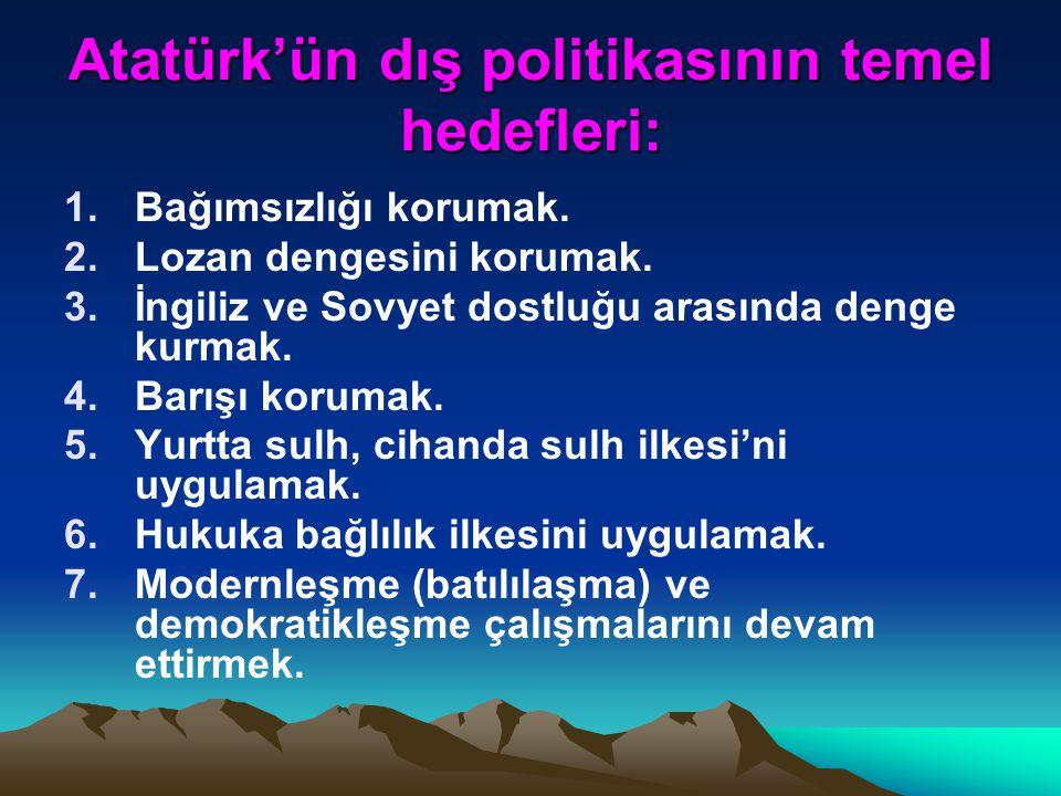 Atatürk'ün Milli dış siyasetinin unsurları: Milli gücümüze dayanmak. Milli sınırlarımız içinde kalmak (Barışçı) Amaçlarımızın hayal ürünü olmaması (Ge