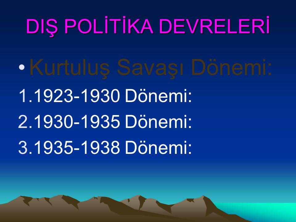Atatürk'ün dış politikasının temel hedefleri: 1.Bağımsızlığı korumak. 2.Lozan dengesini korumak. 3.İngiliz ve Sovyet dostluğu arasında denge kurmak. 4