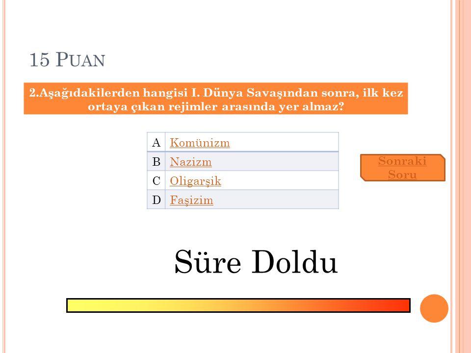 10 P UAN 2.Aşağıdakilerden hangisi, Mustafa Kemal'in I.