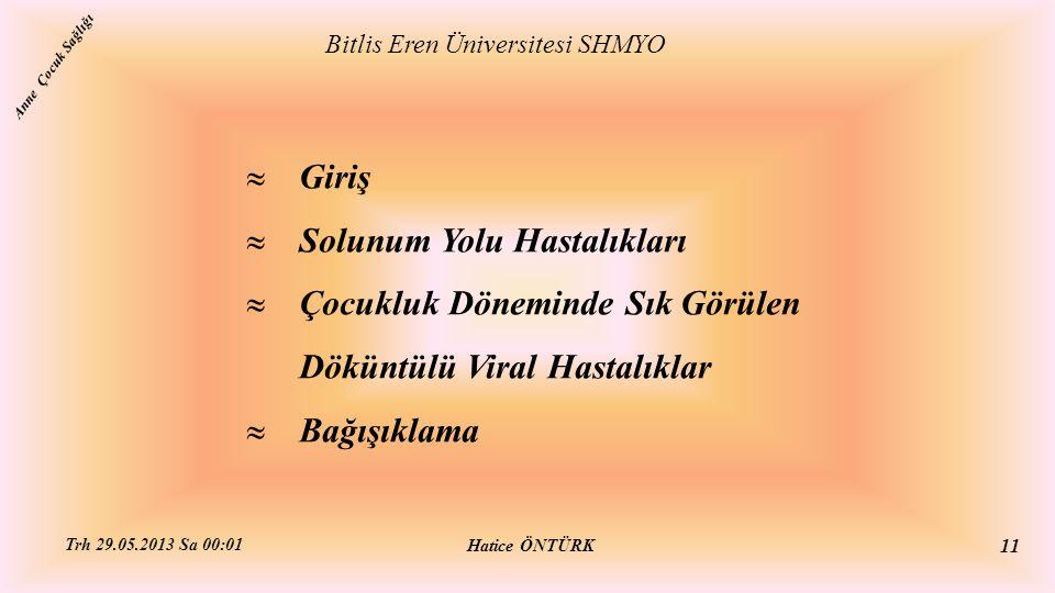  Giriş  Solunum Yolu Hastalıkları  Çocukluk Döneminde Sık Görülen Döküntülü Viral Hastalıklar  Bağışıklama Bitlis Eren Üniversitesi SHMYO Hatice Ö