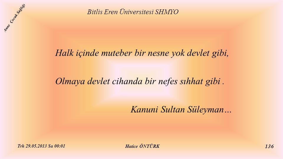 Halk içinde muteber bir nesne yok devlet gibi, Olmaya devlet cihanda bir nefes sıhhat gibi. Kanuni Sultan Süleyman… Bitlis Eren Üniversitesi SHMYO Hat