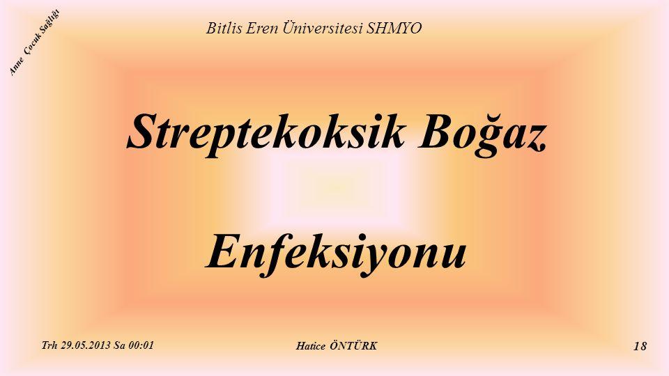Streptekoksik Boğaz Enfeksiyonu Bitlis Eren Üniversitesi SHMYO Hatice ÖNTÜRK Trh 29.05.2013 Sa 00:01 18 Anne Çocuk Sağlığı