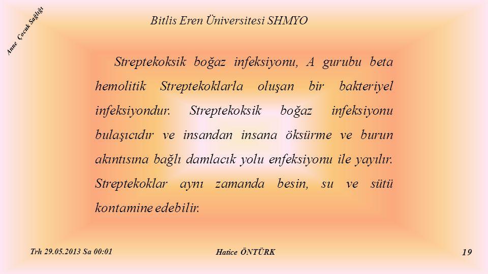 Bitlis Eren Üniversitesi SHMYO Hatice ÖNTÜRK Trh 29.05.2013 Sa 00:01 19 Streptekoksik boğaz infeksiyonu, A gurubu beta hemolitik Streptekoklarla oluşa