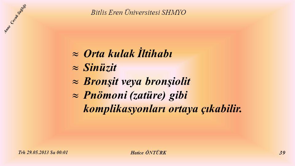  Orta kulak İltihabı  Sinüzit  Bronşit veya bronşiolit  Pnömoni (zatüre) gibi komplikasyonları ortaya çıkabilir. Bitlis Eren Üniversitesi SHMYO Ha
