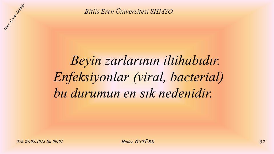 Beyin zarlarının iltihabıdır. Enfeksiyonlar (viral, bacterial) bu durumun en sık nedenidir. Bitlis Eren Üniversitesi SHMYO Hatice ÖNTÜRK Trh 29.05.201