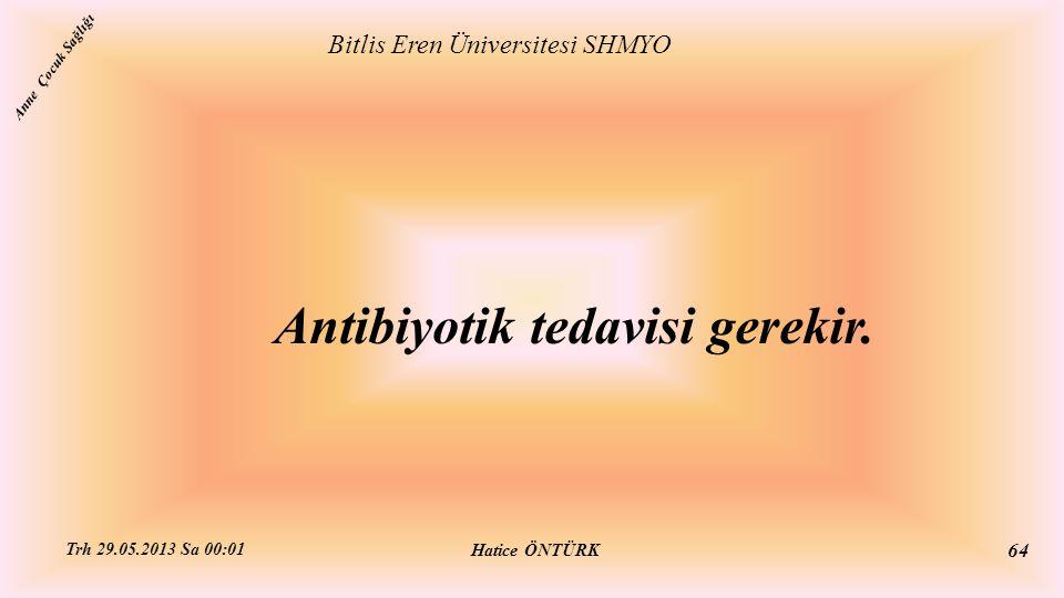 Antibiyotik tedavisi gerekir. Bitlis Eren Üniversitesi SHMYO Hatice ÖNTÜRK Trh 29.05.2013 Sa 00:01 64 Anne Çocuk Sağlığı