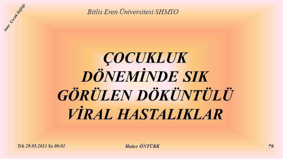 ÇOCUKLUK DÖNEMİNDE SIK GÖRÜLEN DÖKÜNTÜLÜ VİRAL HASTALIKLAR Bitlis Eren Üniversitesi SHMYO Hatice ÖNTÜRK Trh 29.05.2013 Sa 00:01 79 Anne Çocuk Sağlığı