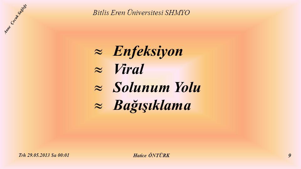  Enfeksiyon  Viral  Solunum Yolu  Bağışıklama Bitlis Eren Üniversitesi SHMYO Hatice ÖNTÜRK Trh 29.05.2013 Sa 00:01 9 Anne Çocuk Sağlığı