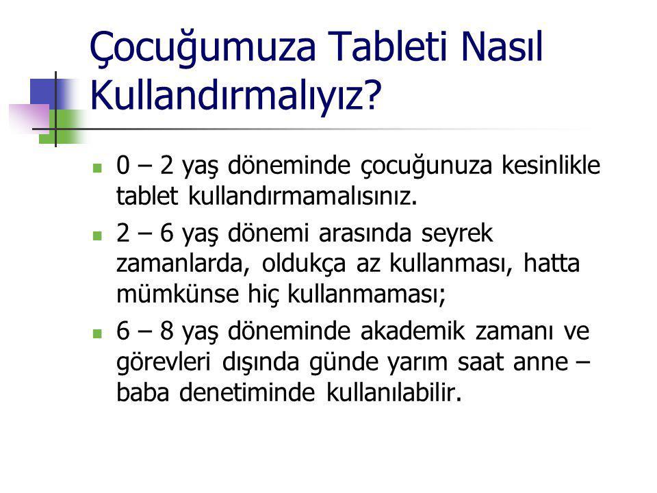 Çocuğumuza Tableti Nasıl Kullandırmalıyız? 0 – 2 yaş döneminde çocuğunuza kesinlikle tablet kullandırmamalısınız. 2 – 6 yaş dönemi arasında seyrek zam