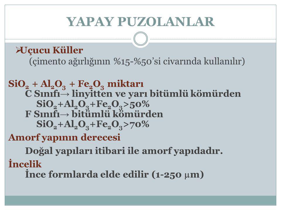 YAPAY PUZOLANLAR  Uçucu Küller (çimento ağırlığının %15-%50'si civarında kullanılır) SiO 2 + Al 2 O 3 + Fe 2 O 3 miktarı C Sınıfı → linyitten ve yarı