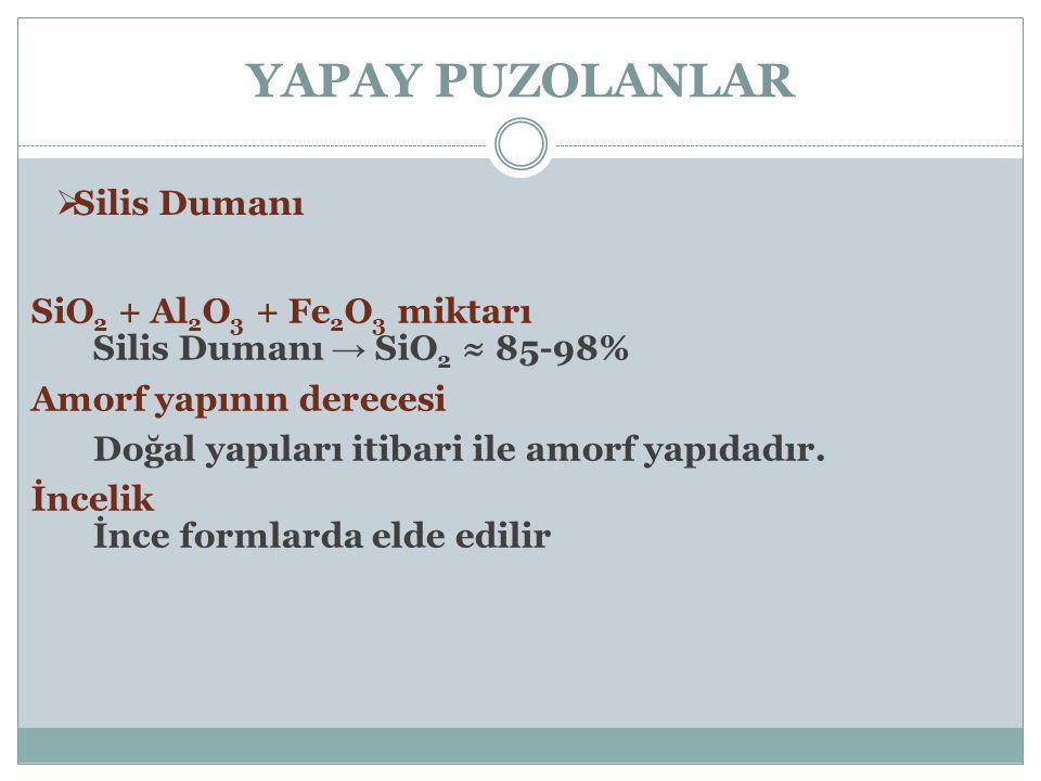 YAPAY PUZOLANLAR  Silis Dumanı SiO 2 + Al 2 O 3 + Fe 2 O 3 miktarı Silis Dumanı → SiO 2 ≈ 85-98% Amorf yapının derecesi Doğal yapıları itibari ile am