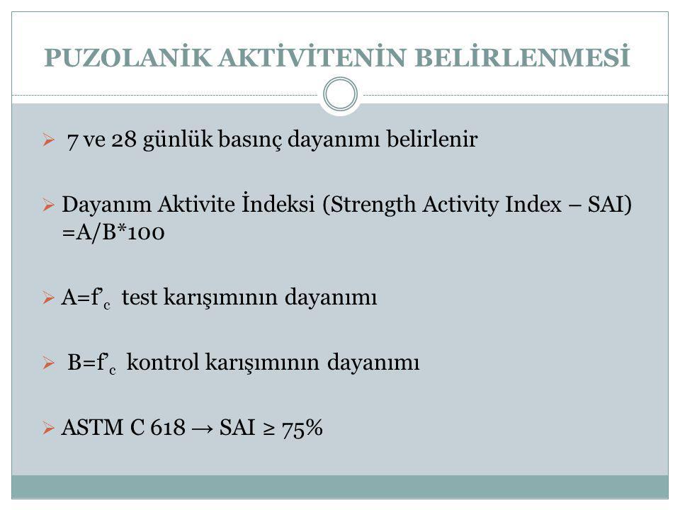  7 ve 28 günlük basınç dayanımı belirlenir  Dayanım Aktivite İndeksi (Strength Activity Index – SAI) =A/B*100  A=f' c test karışımının dayanımı  B