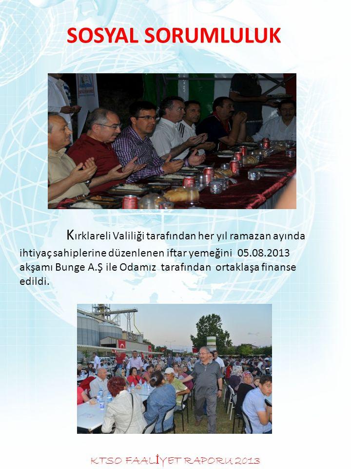 SOSYAL SORUMLULUK K ırklareli Valiliği tarafından her yıl ramazan ayında ihtiyaç sahiplerine düzenlenen iftar yemeğini 05.08.2013 akşamı Bunge A.Ş ile