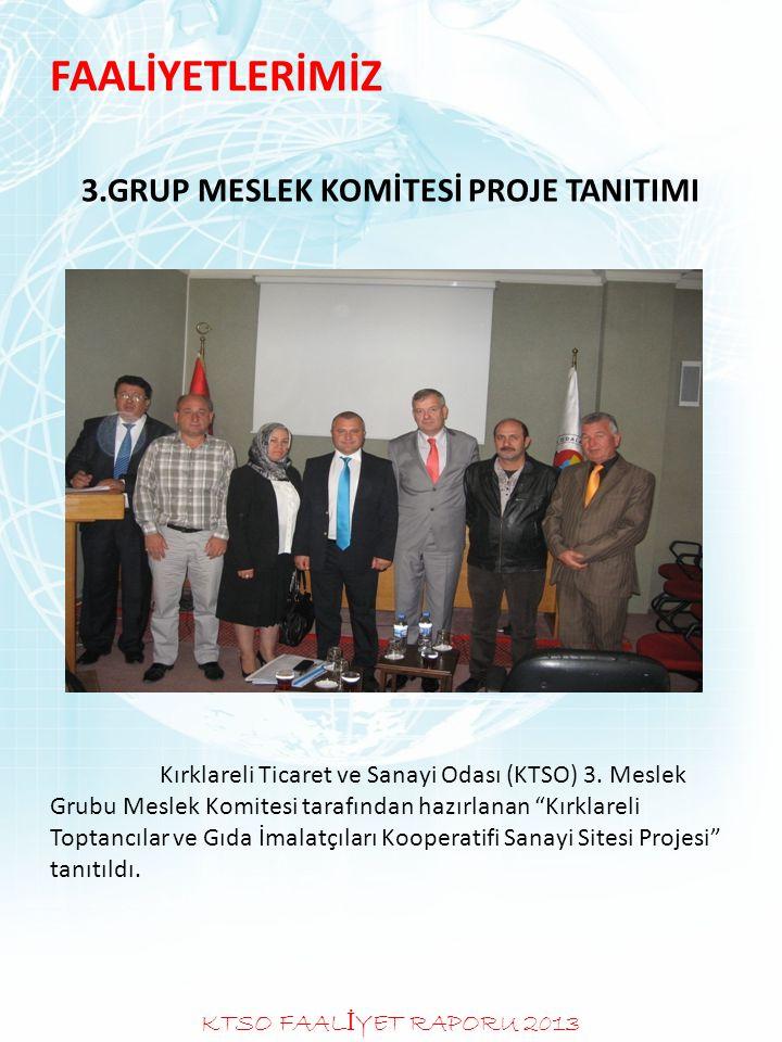 FAALİYETLERİMİZ 3.GRUP MESLEK KOMİTESİ PROJE TANITIMI Kırklareli Ticaret ve Sanayi Odası (KTSO) 3. Meslek Grubu Meslek Komitesi tarafından hazırlanan