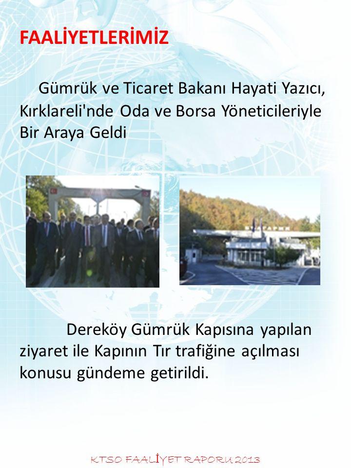 FAALİYETLERİMİZ Gümrük ve Ticaret Bakanı Hayati Yazıcı, Kırklareli'nde Oda ve Borsa Yöneticileriyle Bir Araya Geldi Dereköy Gümrük Kapısına yapılan zi
