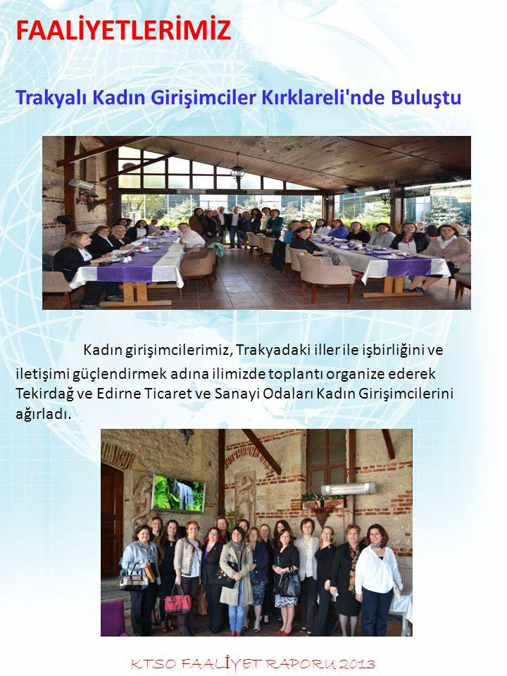 FAALİYETLERİMİZ Trakyalı Kadın Girişimciler Kırklareli'nde Buluştu Kadın girişimcilerimiz, Trakyadaki iller ile işbirliğini ve iletişimi güçlendirmek
