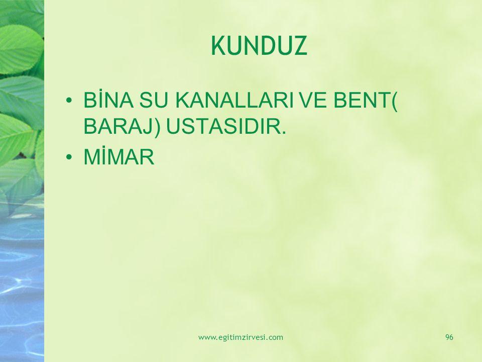KUNDUZ BİNA SU KANALLARI VE BENT( BARAJ) USTASIDIR. MİMAR www.egitimzirvesi.com96