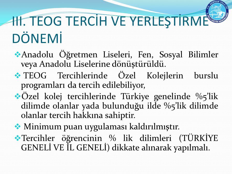 III. TEOG TERCİH VE YERLEŞTİRME DÖNEMİ  Anadolu Öğretmen Liseleri, Fen, Sosyal Bilimler veya Anadolu Liselerine dönüştürüldü.  TEOG Tercihlerinde Öz
