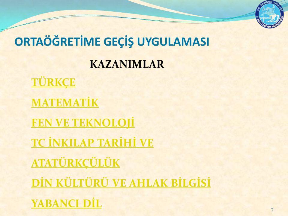 ORTAÖĞRETİM YERLEŞTİRME PUANININ HESAPLANMASI (OYP) Öğrencinin 6,7 ve 8.