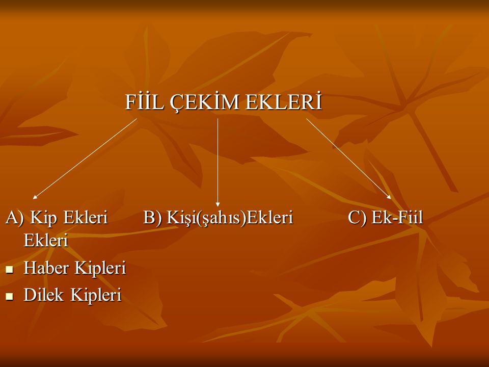 FİİL ÇEKİM EKLERİ FİİL ÇEKİM EKLERİ A) Kip Ekleri B) Kişi(şahıs)Ekleri C) Ek-Fiil Ekleri Haber Kipleri Haber Kipleri Dilek Kipleri Dilek Kipleri
