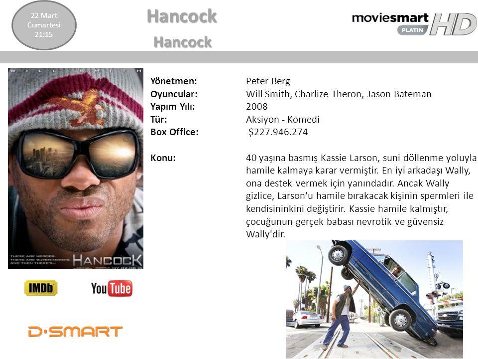 Hancock Hancock Yönetmen: Peter Berg Oyuncular: Will Smith, Charlize Theron, Jason Bateman Yapım Yılı: 2008 Tür: Aksiyon - Komedi Box Office: $227.946