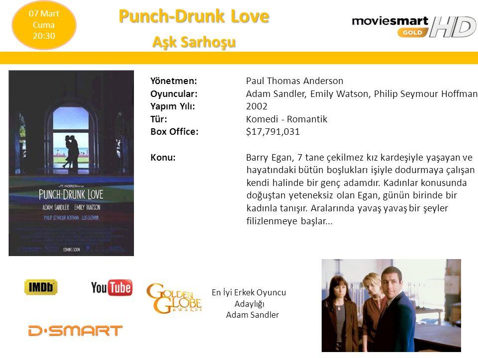 Punch-Drunk Love Aşk Sarhoşu Yönetmen: Paul Thomas Anderson Oyuncular: Adam Sandler, Emily Watson, Philip Seymour Hoffman Yapım Yılı: 2002 Tür: Komedi