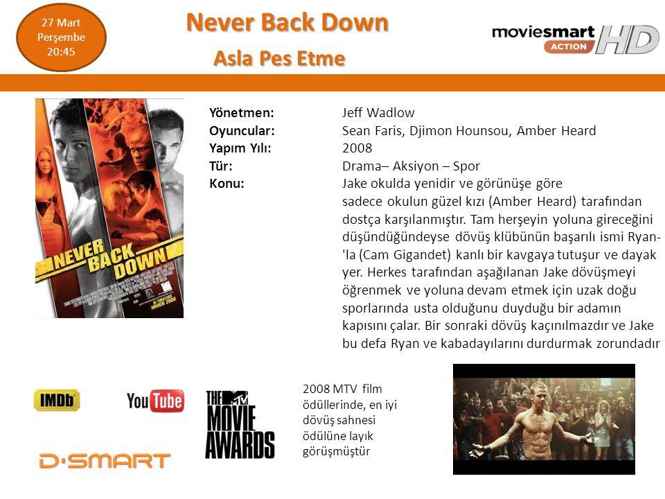 Never Back Down Never Back Down Asla Pes Etme Asla Pes Etme Yönetmen: Jeff Wadlow Oyuncular: Sean Faris, Djimon Hounsou, Amber Heard Yapım Yılı: 2008