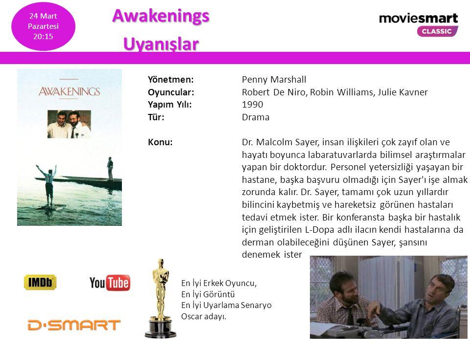 Awakenings Uyanışlar Yönetmen: Penny Marshall Oyuncular: Robert De Niro, Robin Williams, Julie Kavner Yapım Yılı: 1990 Tür: Drama Konu: Dr. Malcolm Sa