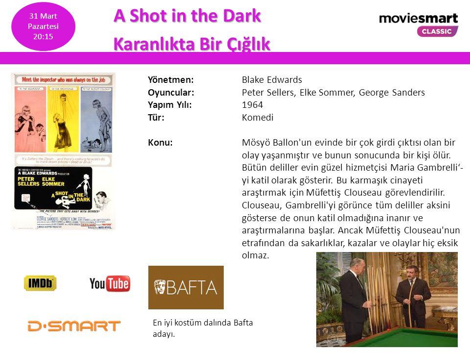 A Shot in the Dark A Shot in the Dark Karanlıkta Bir Çığlık Karanlıkta Bir Çığlık Yönetmen: Blake Edwards Oyuncular: Peter Sellers, Elke Sommer, Georg